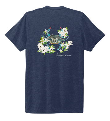Alexandra Catherine, Blue Crab, Unisex Crew Neck T-shirt in Deep Sea Blue