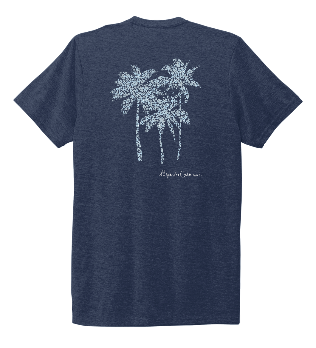 Alexandra Catherine, Palm Trees, Unisex Crew Neck T-shirt in Deep Sea Blue
