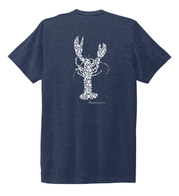 Alexandra Catherine, Fleur White Lobster, Unisex Crew Neck T-shirt in Deep Sea Blue