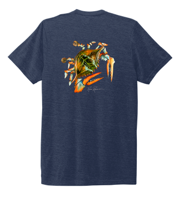 Ronnie Reasonover, The Crab, Crew Neck T-Shirt in Deep Sea Blue