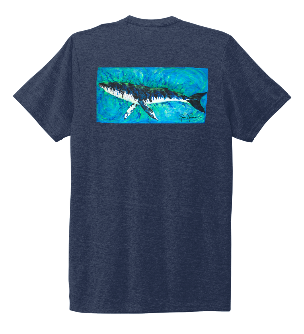 Ronnie Reasonover, The Whale, Crew Neck T-Shirt in Deep Sea Blue