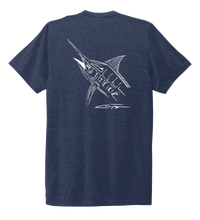 Load image into Gallery viewer, Colin Thompson, Marlin, Crew Neck T-Shirt in Deep Sea Blue