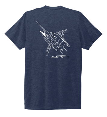 Colin Thompson, Marlin, Crew Neck T-Shirt in Deep Sea Blue