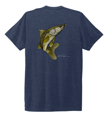 Colin Thompson, Snook, Crew Neck T-Shirt in Deep Sea Blue