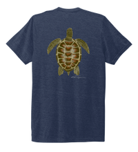 Load image into Gallery viewer, Colin Thompson, Turtle, Crew Neck T-Shirt in Deep Sea Blue