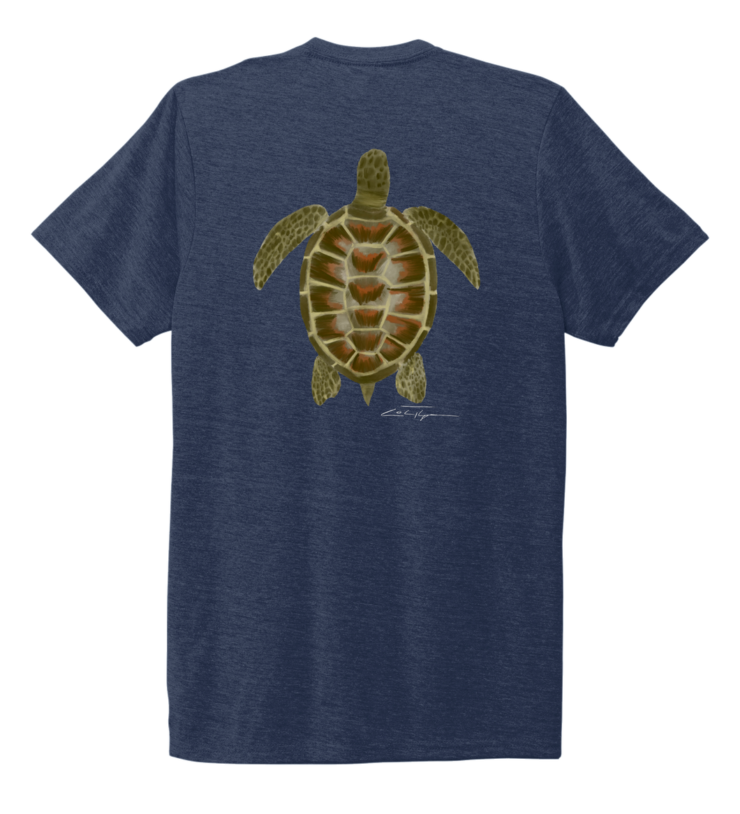 Colin Thompson, Turtle, Crew Neck T-Shirt in Deep Sea Blue