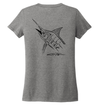 Load image into Gallery viewer, Colin Thompson, Marlin, Women's V-neck T-shirt in Oyster Grey