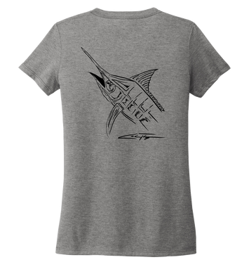 Colin Thompson, Marlin, Women's V-neck T-shirt in Oyster Grey