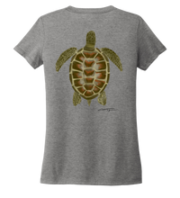 Load image into Gallery viewer, Colin Thompson, Turtle, Women's V-neck T-shirt in Oyster Grey
