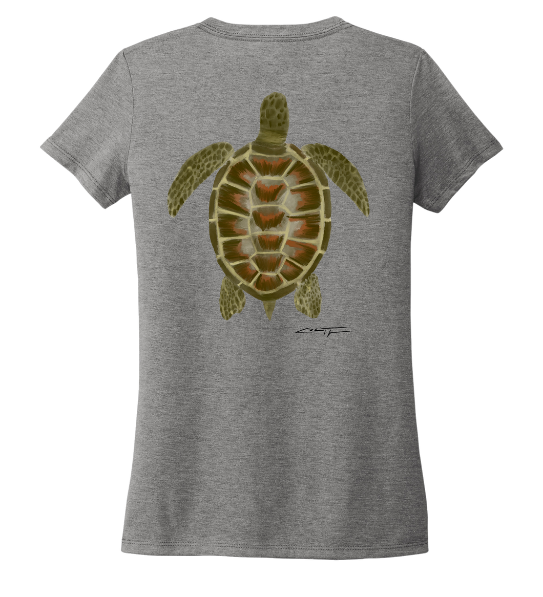 Colin Thompson, Turtle, Women's V-neck T-shirt in Oyster Grey