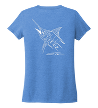 Load image into Gallery viewer, Colin Thompson, Marlin, Women's V-neck T-shirt in Sky Blue
