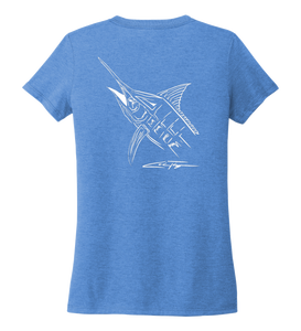 Colin Thompson, Marlin, Women's V-neck T-shirt in Sky Blue
