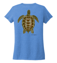 Load image into Gallery viewer, Colin Thompson, Turtle, Women's V-neck T-shirt in Sky Blue