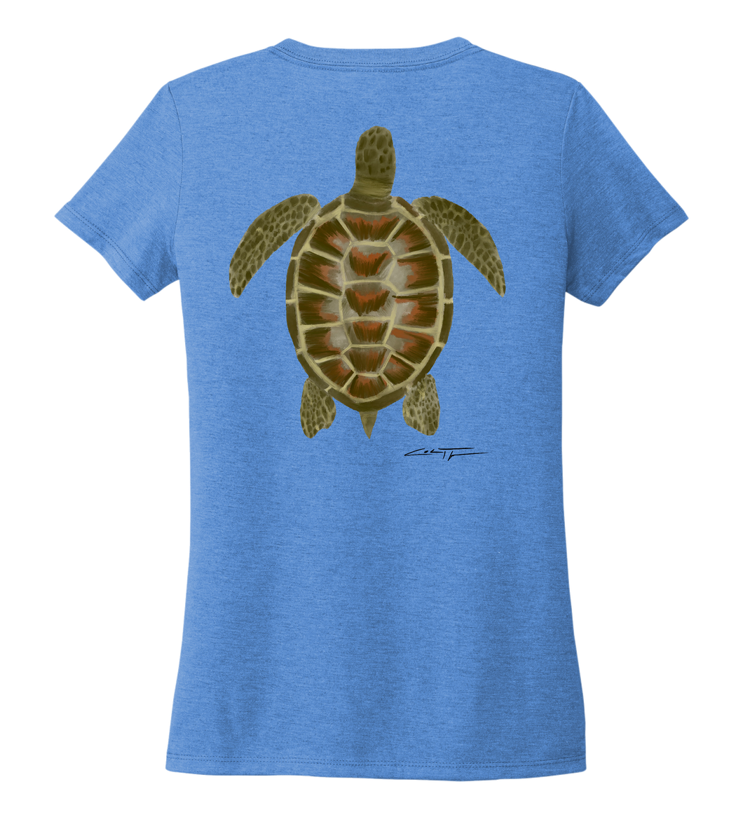 Colin Thompson, Turtle, Women's V-neck T-shirt in Sky Blue