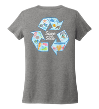 Load image into Gallery viewer, Lauren Gilliam, Recycle, Women's V-neck T-shirt in Oyster Grey
