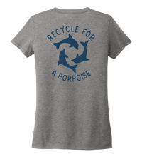 Load image into Gallery viewer, StepChange, Porpoise, Women's V-neck T-shirt in Oyster Grey