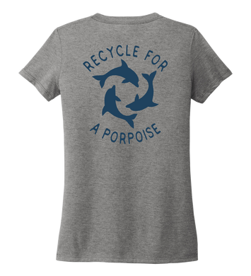 StepChange, Porpoise, Women's V-neck T-shirt in Oyster Grey