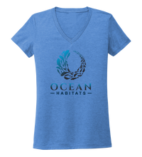 Load image into Gallery viewer, Ocean Habitats & Colin Thompson Collaboration - Women's V-neck T-shirt in Sky Blue