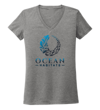 Load image into Gallery viewer, Ocean Habitats - Women's V-neck T-shirt in Oyster Grey