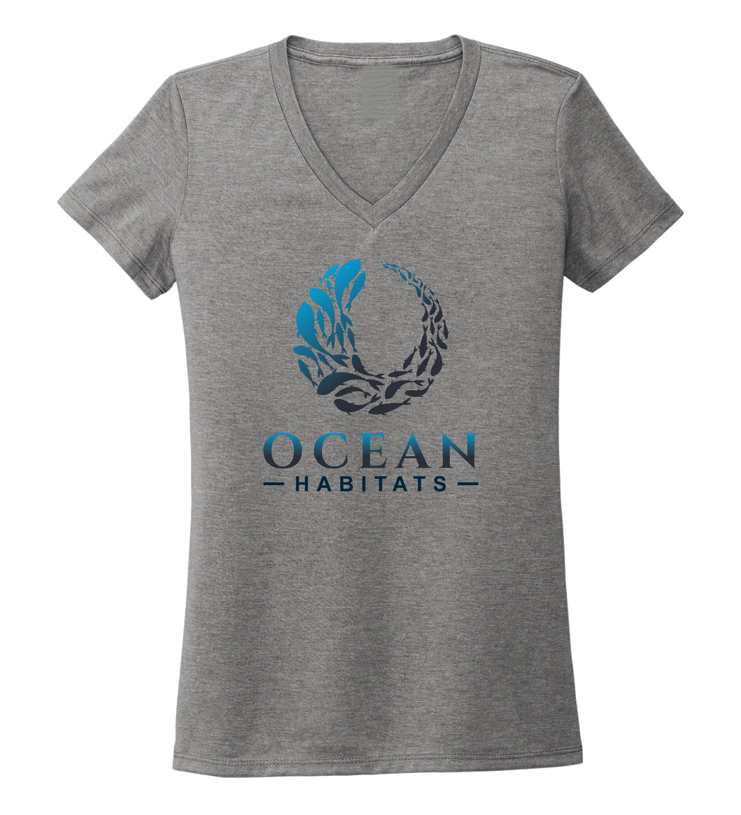 Ocean Habitats - Women's V-neck T-shirt in Oyster Grey