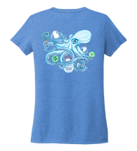 Load image into Gallery viewer, Lauren Gilliam, Octopus, Women's V-neck T-shirt in Sky Blue