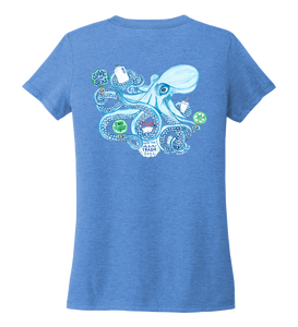 Lauren Gilliam, Octopus, Women's V-neck T-shirt in Sky Blue
