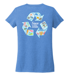 Lauren Gilliam, Recycle, Women's V-neck T-shirt in Sky Blue