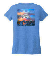 Load image into Gallery viewer, Lauren Gilliam, Dolphin, Women's V-neck T-shirt in Sky Blue