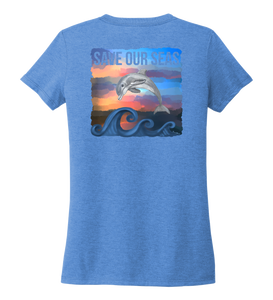 Lauren Gilliam, Dolphin, Women's V-neck T-shirt in Sky Blue