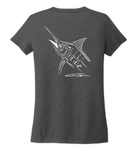 Load image into Gallery viewer, Colin Thompson, Marlin, Women's V-neck T-shirt in Slate Black