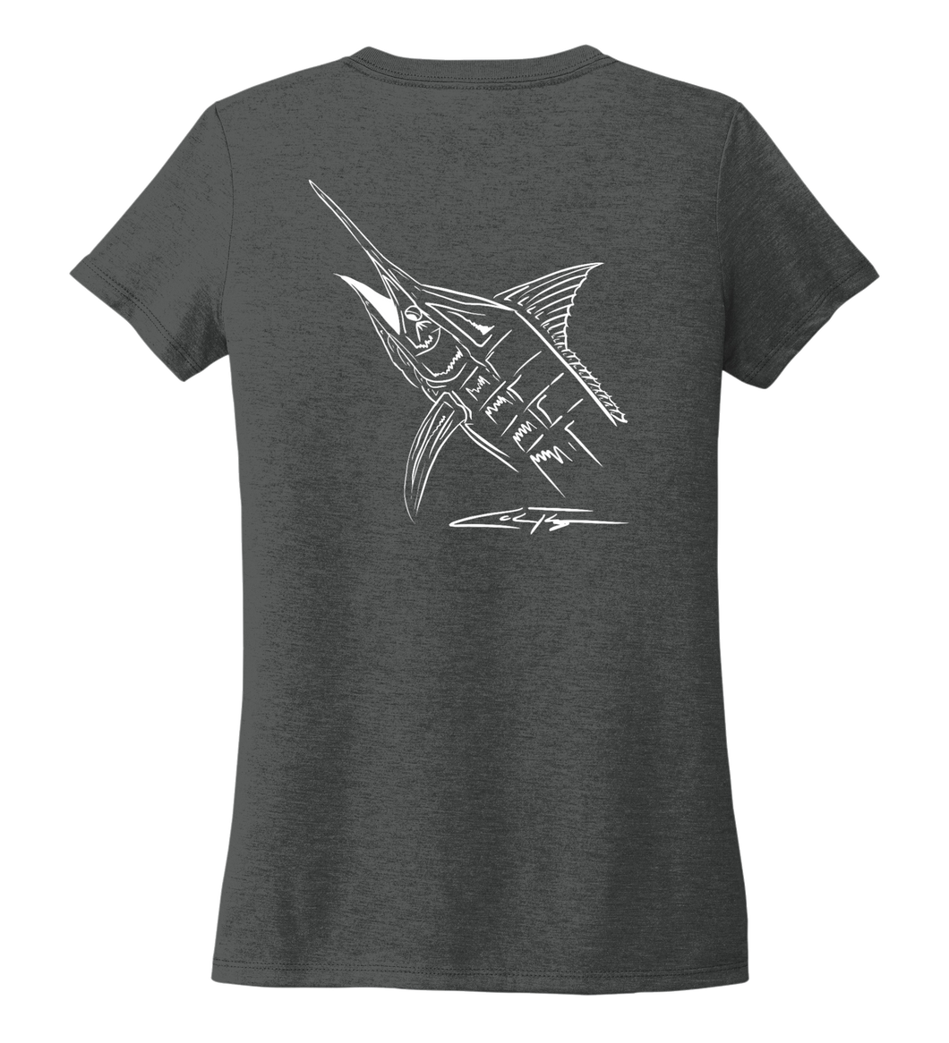 Colin Thompson, Marlin, Women's V-neck T-shirt in Slate Black