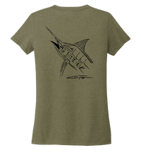 Load image into Gallery viewer, Colin Thompson, Marlin, Women's V-neck T-shirt in Earthy Green