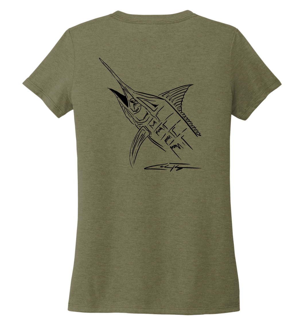 Colin Thompson, Marlin, Women's V-neck T-shirt in Earthy Green
