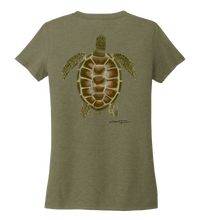 Load image into Gallery viewer, Colin Thompson, Turtle, Women's V-neck T-shirt in Earthy Green