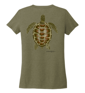 Colin Thompson, Turtle, Women's V-neck T-shirt in Earthy Green