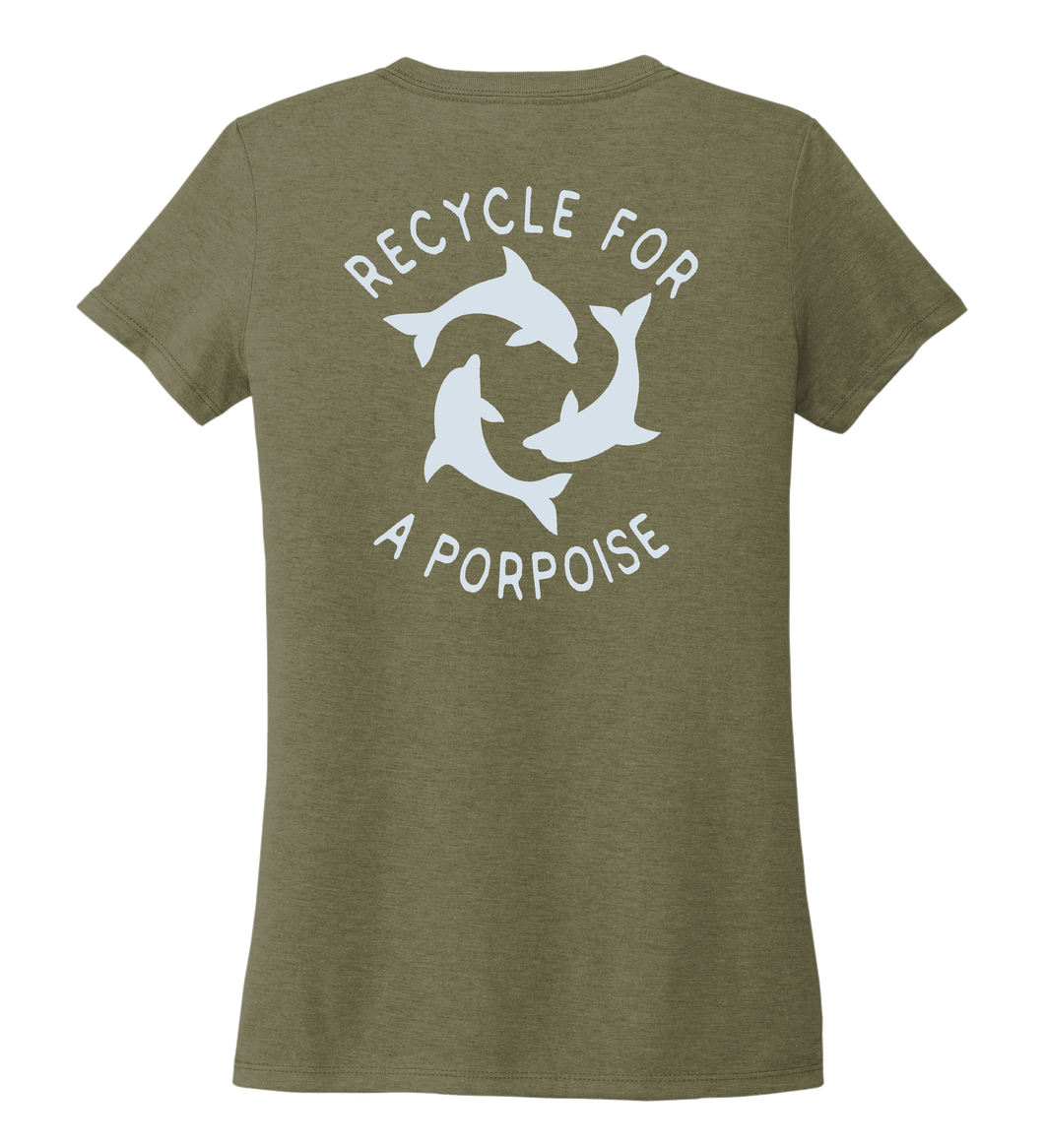 StepChange, Porpoise, Women's V-neck T-shirt in Earthy Green