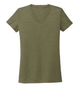 Women's V-neck T-shirt in Earthy Green