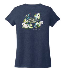 Alexandra Catherine, Blue Crab, Women's V-neck T-shirt in Deep Sea Blue