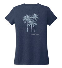 Load image into Gallery viewer, Alexandra Catherine, Palm Trees, Women's V-neck T-shirt in Deep Sea Blue