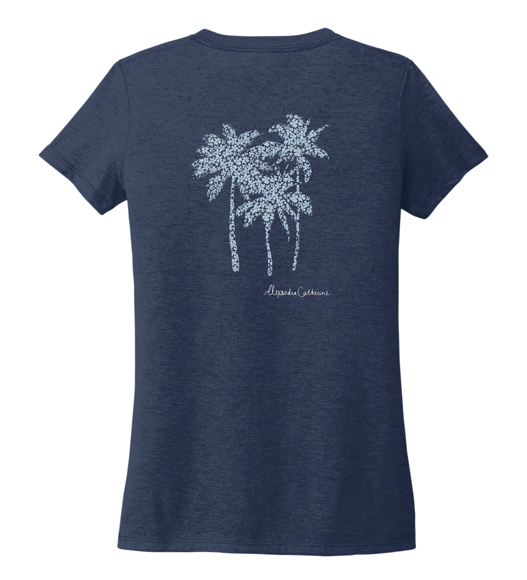 Alexandra Catherine, Palm Trees, Women's V-neck T-shirt in Deep Sea Blue
