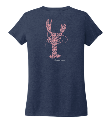 Alexandra Catherine, Fleur Pink Lobster, Women's V-neck T-shirt in Deep Sea Blue