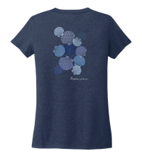 Load image into Gallery viewer, Alexandra Catherine, Tossed Seashells, Women's V-neck T-shirt in Deep Sea Blue