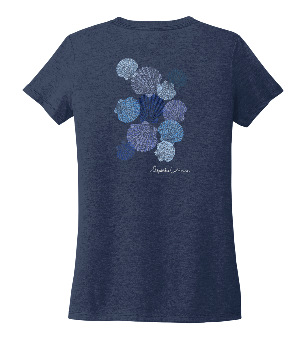 Alexandra Catherine, Tossed Seashells, Women's V-neck T-shirt in Deep Sea Blue