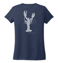 Load image into Gallery viewer, Alexandra Catherine, Fleur White Lobster, Women's V-neck T-shirt in Deep Sea Blue