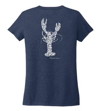 Alexandra Catherine, Fleur White Lobster, Women's V-neck T-shirt in Deep Sea Blue