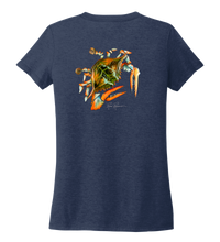 Load image into Gallery viewer, Ronnie Reasonover, The Crab, Women's V-neck T-shirt in Deep Sea Blue
