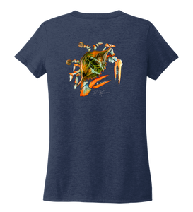 Ronnie Reasonover, The Crab, Women's V-neck T-shirt in Deep Sea Blue