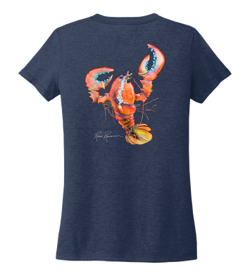 Ronnie Reasonover, The Lobster, Women's V-neck T-shirt in Deep Sea Blue