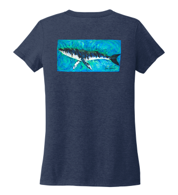 Ronnie Reasonover, The Whale, Women's V-neck T-shirt in Deep Sea Blue