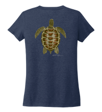 Load image into Gallery viewer, Colin Thompson, Turtle, Women's V-neck T-shirt in Slate Black